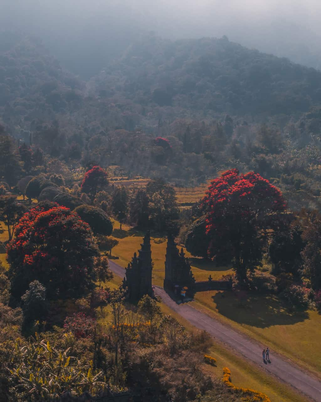 Handara-gate-Bali-sunrise-drone