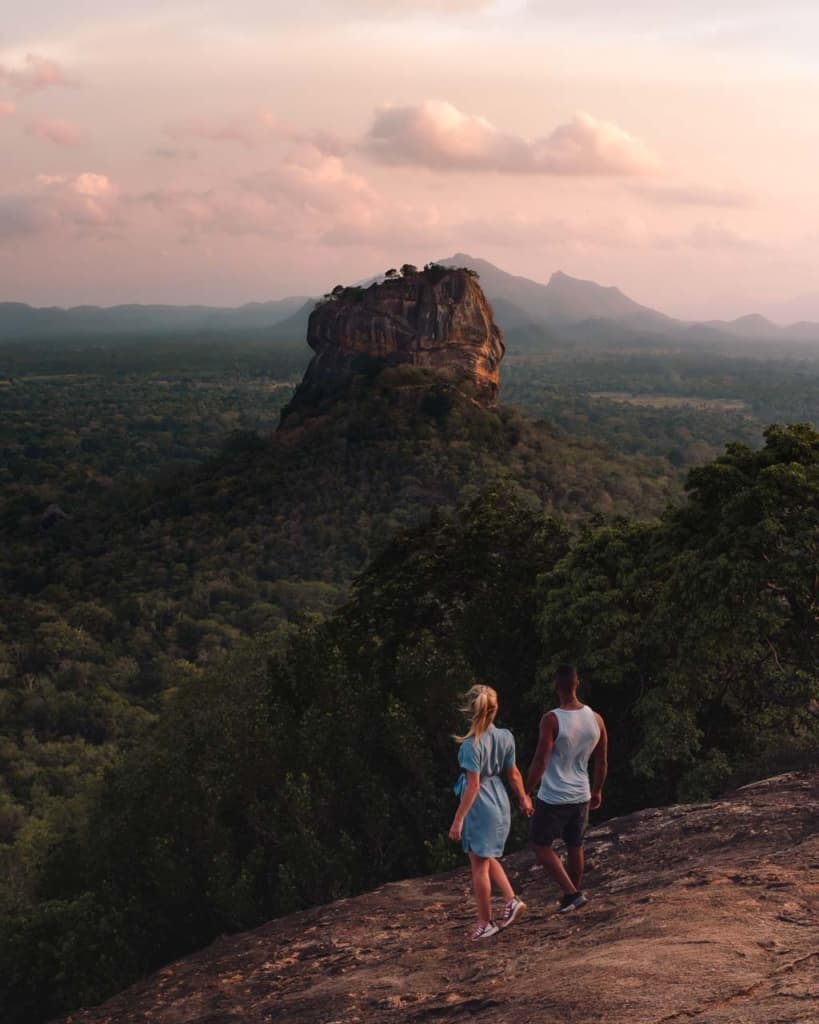 Pidurangala-rock-view-Sigiriya-rock-sunset-couple