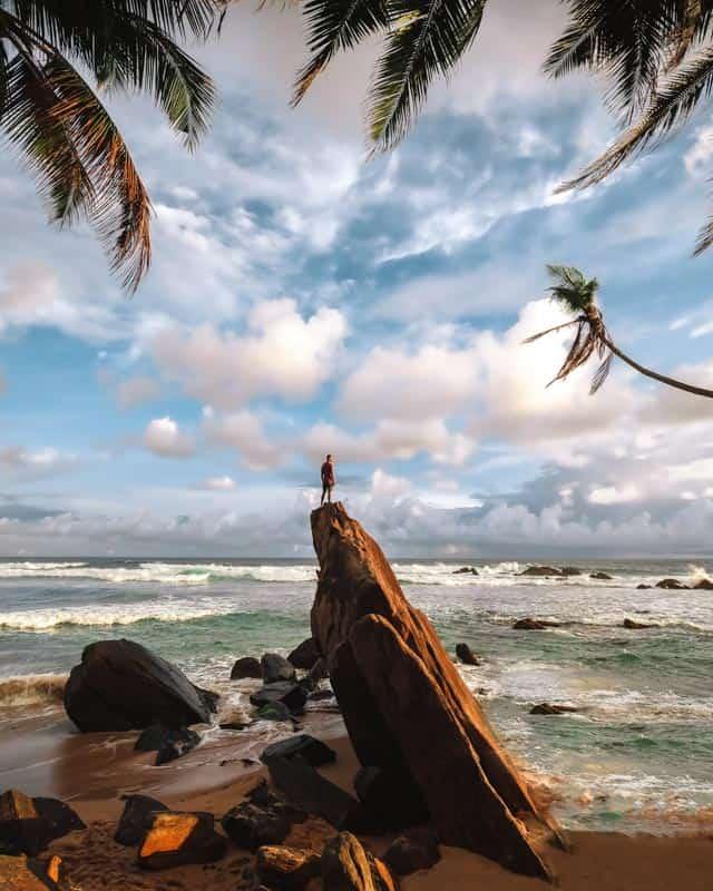 ship-rock-dalawella-beach-sunset-sri-lanka